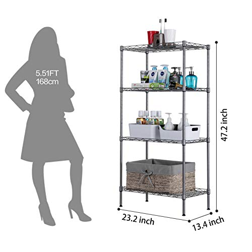 SINGAYE 4 Tier Adjustable Wire Shelving Metal Storage Rack for Laundry Bathroom Kitchen 530Lbs Capacity 13.4