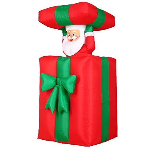 Monzana Aufblasbarer Weihnachtsmann Nikolaus 152cm Groß Springt-aus-der-Box Weihnachten Geschenk LED Beleuchtet Deko