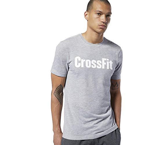 Reebok RC Fef tee-Speedwick Camiseta, Hombre, Medium Grey Heather/White, L