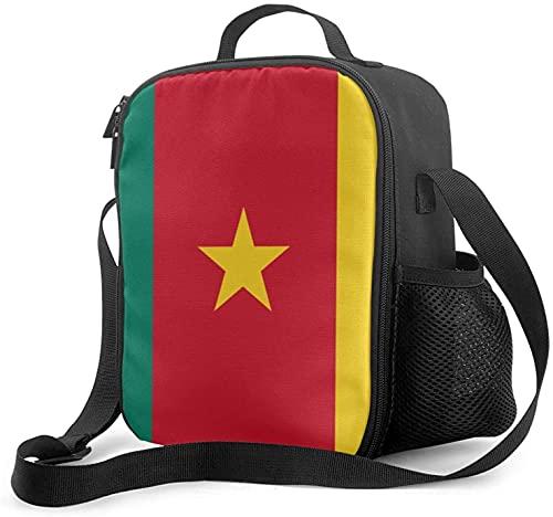Isolierte Lunchtasche mit Kamerun-Flagge, auslaufsicher, flach, Kühltasche mit Schultergurt für Damen & Herren, geeignet für Arbeit & Büro