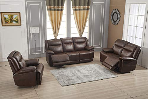 Betsy Furniture Bonded Leather Reclining Sofa Couch Set Living Room Set 8006 (Brown, Sofa+Loveseat+Recliner)