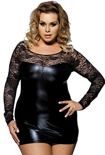 marysgift Damen Minikleid Wetlook Party-Dress Kunstleder Schwarz Latex Dessous große größen Schwarz 3XL 44 46