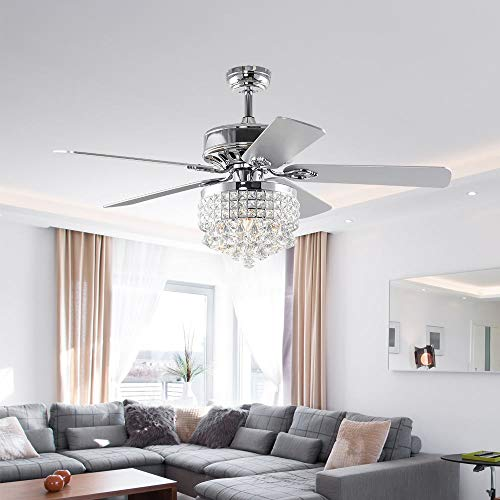 """LuxureFan 52"""" Crystal LED Chrome Ceiling Fan Light Fixture Gorgeous Crystal 5 Reverse Wood Blades Modern Chandelier with Remote Control Decoration Home/Living Room"""