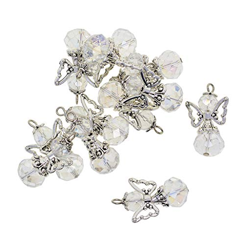 Fenteer 12 Pieces Alloy Filigree Hollow out Angel Wings Charms Pendant with Crystal Glass Beads Dangle Charm Pendants Jewelry DIY Crafts Bulk - clear