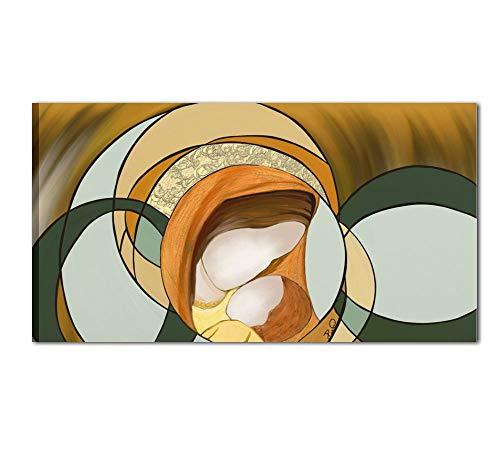 I colori del Caribe - Cuadro pintado a mano sobre lienzo, para decorar el cabecero del dormitorio, de alta calidad, fabricado en Italia, diseño de la Virgen con el Niño