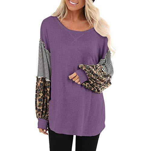 Dasongff dames sweatshirt ronde hals lantaarn mouwen top trui contrast patchwork elegant longshirt casual luipaard shirt lange mouwen Medium lila