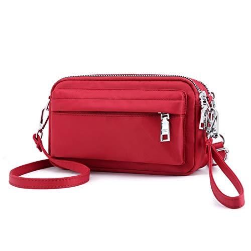 YANAIER Handy Schultertasche Damen Kleine Tasche Umhängetasche Crossbody Handytasche Phone Bag für Frauen Mädchen Rot