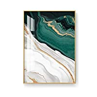 BGGGTD ポスター 北欧グリーンゴールド箔絵画モダン抽象スタイルIivingRoom高級装飾アートキャンバスポスター印刷写真リビングルーム-50x70x1フレームなし