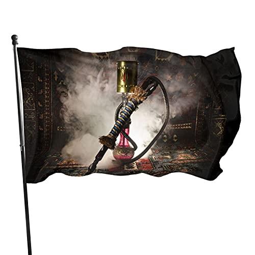 Elegante bandera oriental de Shisha de color vivo y resistente a la decoloración UV – Cabecera de lona y doble costura 3 x 5 pies