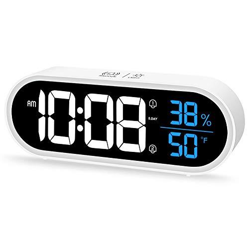 Beeasy Digitaler Wecker, LED Digitaluhr mit Temperatur Luftfeuchtigkeit, Tragbarer Tischuhr Spiegelalarm mit Dual Alarm Snooze 40 Alarmtöne USB Wiederaufladbar, Helligkeit und Lautstärke Regelbar