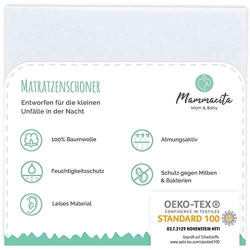 Mammacita Baby matrasbeschermer waterdicht (120 x 60 cm) matrasoplegger voor babymatrassen zonder knispers, waterdichte matrasbeschermer ademend, wasbare matrashoes en matrasbeschermer