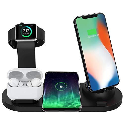 Bestrans Wireless Charger 6 in 1, Ladestation für Apple Watch 5/4/3/2, Airpods 2/1 und Smartphone, Fast Handy-Induktionsladegeräte für iPhone 11/11 Pro/XR/XS/X/8 Plus/8 Samsung Galaxy Huawei (Schwarz)