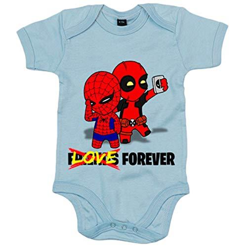 Body bebé Love Forever parodia Spiderman Deadpool - Celeste, 6-12 meses