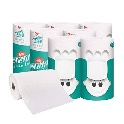 AZUOYI Essuie Tout de Cuisine Épaissi Papier Absorbant l'huile Naturelle Rouleaux de Cuisine Rouleau de Ménage Papier Réutilisable Machine Ultra Absorbante (8 Rouleaux)