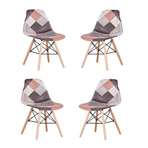 WV LeisureMaster Un conjunto de cuatro sillas de comedor escandinavo clásico nórdico, tela de lino, patas de madera de haya maciza, apto para comedor, sala de estar (marrón, 8)