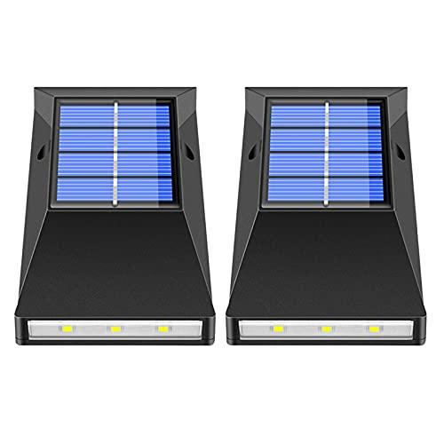 #N/A/a Luces Solares para Exteriores, Luces con Energía Solar, 6 LED, Luz de Pared Impermeable para Exteriores, Luz Nocturna para Jardín, Patio, Garaje, Vall - Blanco cálido
