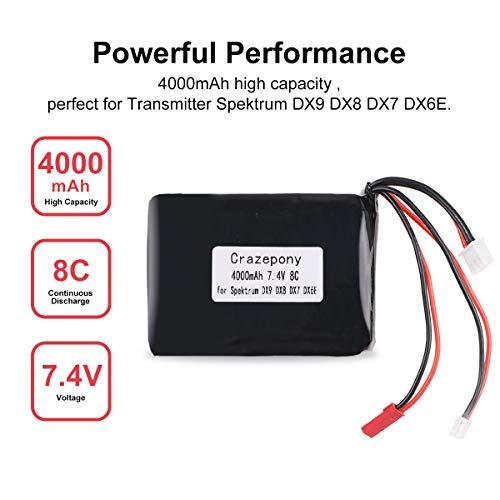 Crazepony 4000mAh 2S Lipo Battery 8C/16C 7.4V JST JR Plug Balancer Connector Transmitter Battery for Spektrum DX9 DX8 DX7 DX6E