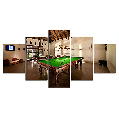 ZXYJJBCL Pool Table In The Room 5 Panel Wall Art For Modern Artwork For Living Room Dinning Room Home Decor Decoration Gift