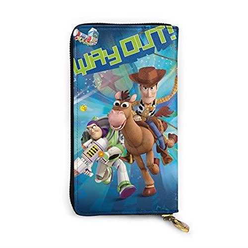 Toy Story Cartera de dibujos animados RFID de cuero genuino con cremallera para tarjetas titular organizador bolsa de embrague
