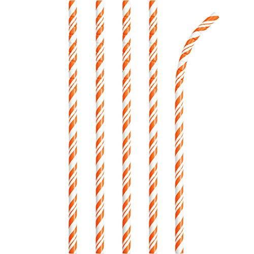 Creative Converting Striped Paper Straws, One Size, Orange/White