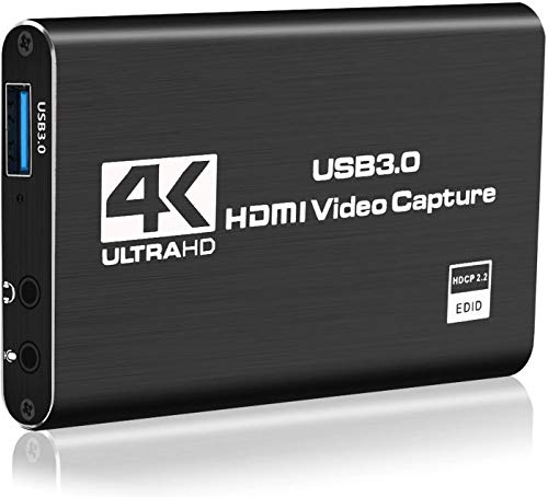 Y&H Tarjetas de captura de juegos 4K, HDMI a USB 3.0 Audio Video Grabber Dispositivo de grabación de juegos HD 1080P 60HZ Live Streaming para PS4, Nintendo Switch