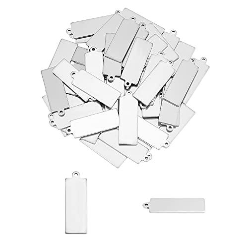 UNICRAFTALE 30pcs Rectángulo 304 Colgantes de Etiquetas En Blanco con Estampado de Acero Inoxidable 2 mm de Orificio Superficie Lisa Colgantes Planos para Joyería Fabricación de Artesanías