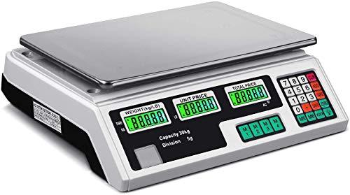 ILINKER Báscula digital de peso 60LB 30KG Carne Alimentos Fruta Precio de la Computación Eléctrica Equipo de conteo para tiendas de cocina Restaurante Mercado agricultor