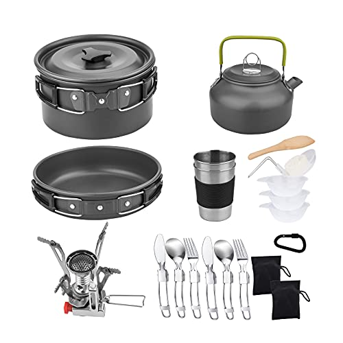 MOREVEE Camping Cookware, 2-3 Person Backpack Pan Kit with Kettle Stove Compact Camping Aluminum Alloy Pot and Pan 20pcs Mess Kits Backpacking for Outdoor Cooking Hiking Picnic