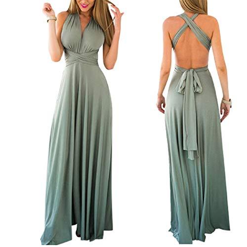 Infinity Kleid inklusive Bandeau Top, Ballkleid Brautjungfernkleid Gr. 42-48 viele Farben Wickelkleid lang, 70 Verschiedene Wickelarten Brautkleid, Bridesmaid, one Size, Stretch (Türkis, 2 (42-48))