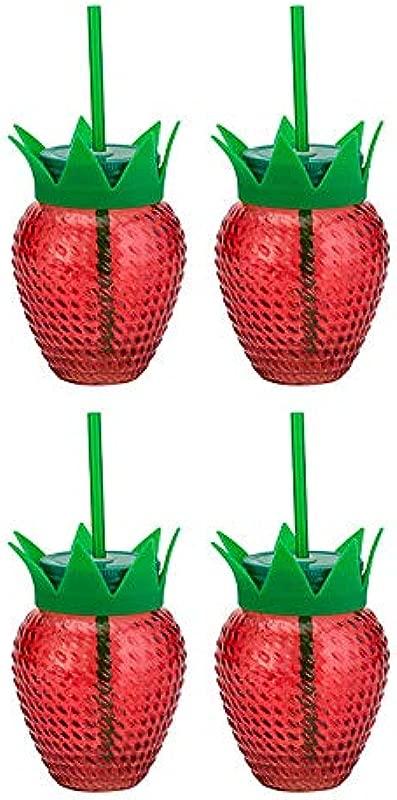 Amici Home 7CN212S4R Strawberry Glass Mason Jars 6 Fluid Ounces Red