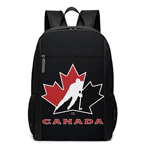 GgDupp Canada National Ice Hockey Team Logo Schulranzen Reiserucksack 17 Zoll Laptop Tasche, Polyester, Schwarz, Einheitsgröße