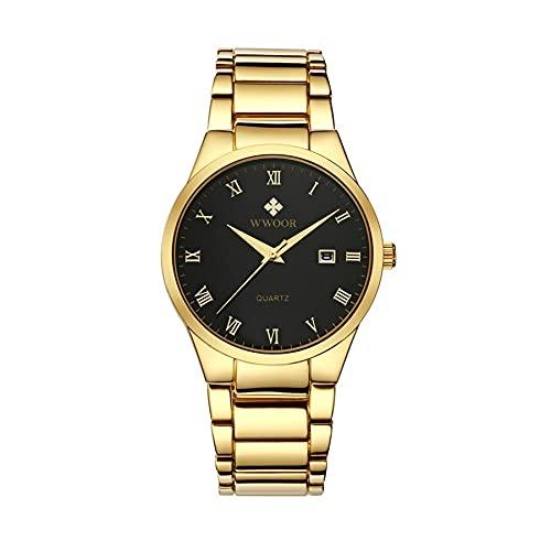 CXJC Reloj de Negocios de Moda para Hombres, Reloj Deportivo Resistente a los rasguños.Correa de Acero Inoxidable + Espejo de Reloj Resistente a los arañazos (Color : Re)