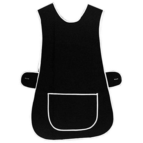 Tabardo MyShoeStore® para mujer para cocinar en casa, limpiar, chef, servicio de comidas, delantal de trabajo de polialgodón con borde blanco, bolsillo grande y botones en los lados para cierre, talla supergrande, negro, XXXX-Large