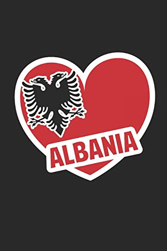 Albania Eagle Heart: Dot matrix notebook for the journal or diary for women and men