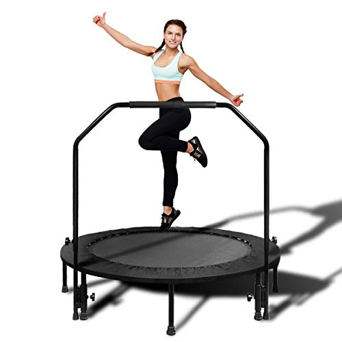 MOVTOTOP Foldable Mini Trampoline Rebounder, 48 Inch Indoor Fitness Trampoline with Adjustable Handrail and Safety Pad, Exercise Trampoline Rebounder for Kids Adults Indoor/Garden Workout (Black)