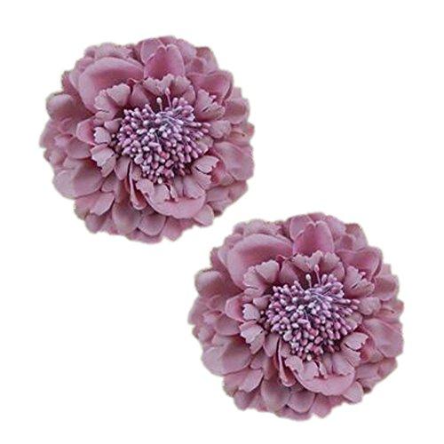 2PCS élégant fleur cheveux cheveux clip décoration pour les dames,Violet-rose