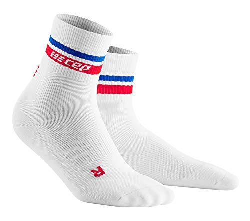 CEP Women's Compression Socks - CEP 80's Compression Mid-Cut Socks, White/Red&Blue IV