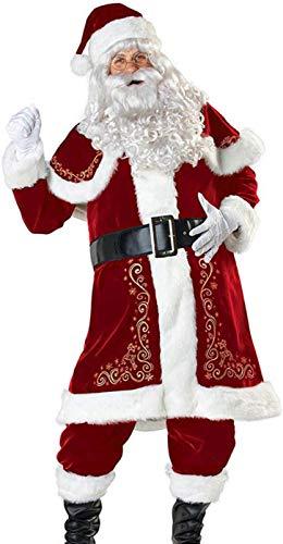 SWHRIOPD Costume Babbo Natale, UomoNatale Super, Rosso,8 Pezzi: Cappotto, Pantaloni, Cintura, Scialle, Cappello, Manica Scarpa, Guanti, Barba