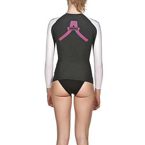 arena Damen Schwimm Kompressionsshirt Carbon Langarm (Atmungsaktiv, Carbon-Material, Durchblutungsfördernd), Dark Grey-White (53), XS - 6