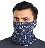 Neck Gaiter Face Mask - Face Cover & Sleeve w/UV & Dust Protection - Pull Over Masks Bandana - Fishing & Running - Navy Blue