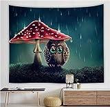 KHKJ Gran Tapiz Colgante de Pared Seta mágica Paisaje Tapiz de Pared psicodélico Bosque Natural Alfombra de Pared decoración del hogar A6 95x73cm