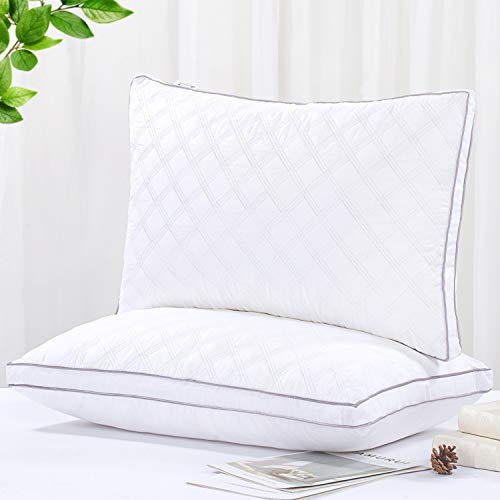 Tminnov Luxury Bed Pillows 2 Pack,Hotel Quality Pillows with 100% Cotton Fabric,Skin-Friendly...
