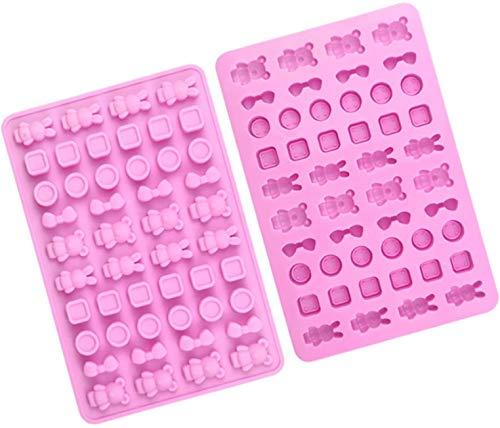 Stampo Silicone Torta Stampi Per Dolci 48 buche silicone cioccolato caramelle stampi geometria animale forma strumenti di cottura fatti a mano per festa di compleanno godere pacchetto di 2 rosa TREEEC