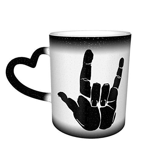 Hand in Rock N Roll Sign Taza que cambia de color Gran diseño de taza de café Taza de cerámica sensible al calor, 11oz-CI3