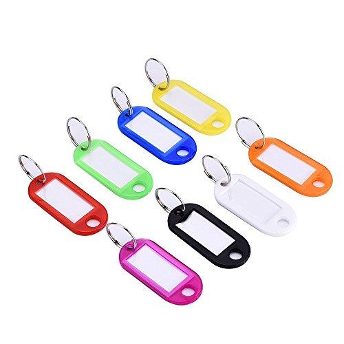 Homiki bunte Multifunktionsetiketten, 30 Stück, Kunststoff, Namensschild, Schlüsselanhänger, mit Ring