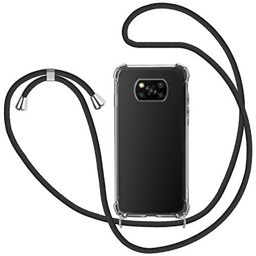 SAMCASE Funda con Cuerda para Xiaomi Poco X3 Pro Poco X3 NFC, Carcasa Transparente TPU Suave Silicona Case con Correa Colgante Ajustable Collar Correa de Cuello Cadena Cordón - Negro