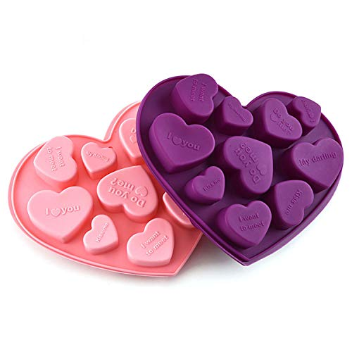 Heart Chocolate Mold, 10 Cavity Heart Silicone Molds, heart molds for chocolate It Can Also Be Used To Make Crayon Soap Ice Cubes (2pcs)