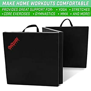 GoSports 6'x2' Tri-Fold Exercise Fitness Mat - Great for Workouts, Yoga, MMA and More, Black