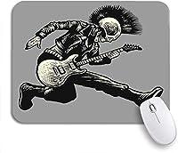 ROSECNY 可愛いマウスパッド ロックスカルパンクギタリストミュージックジャケットスケルトンギターミュージシャンノンスリップゴムバッキングマウスパッドノートブックコンピュータマウスマット