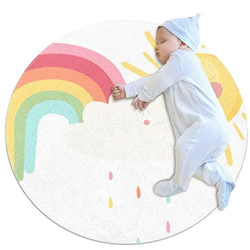 Rainbow Rain Sun Tapis bébé Décor de pièce rond et antidérapant doux pour les tout-petits enfants 100cm